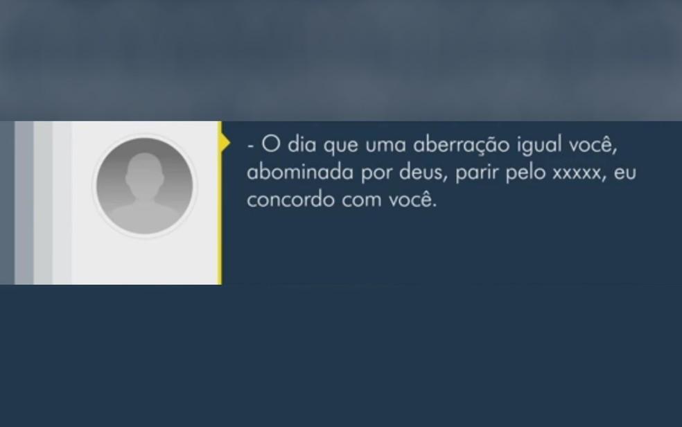 Ofensa homofóbica enviada a morador de Quirinópolis — Foto: Reprodução/TV Anhanguera