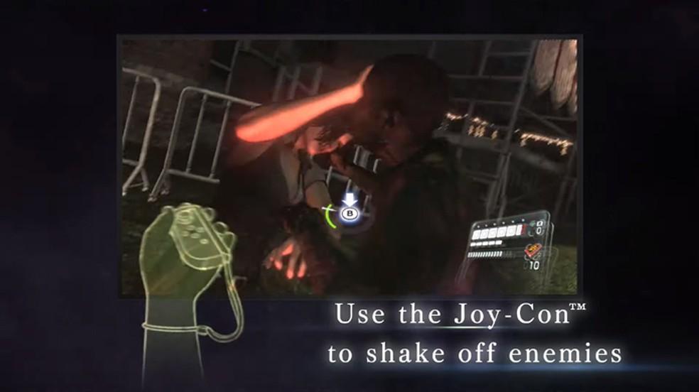 Resident Evil 5 e 6 permite usar controles de movimento com o Joy-Con para várias ações como se livrar de inimigos — Foto: Reprodução/Resident Evil