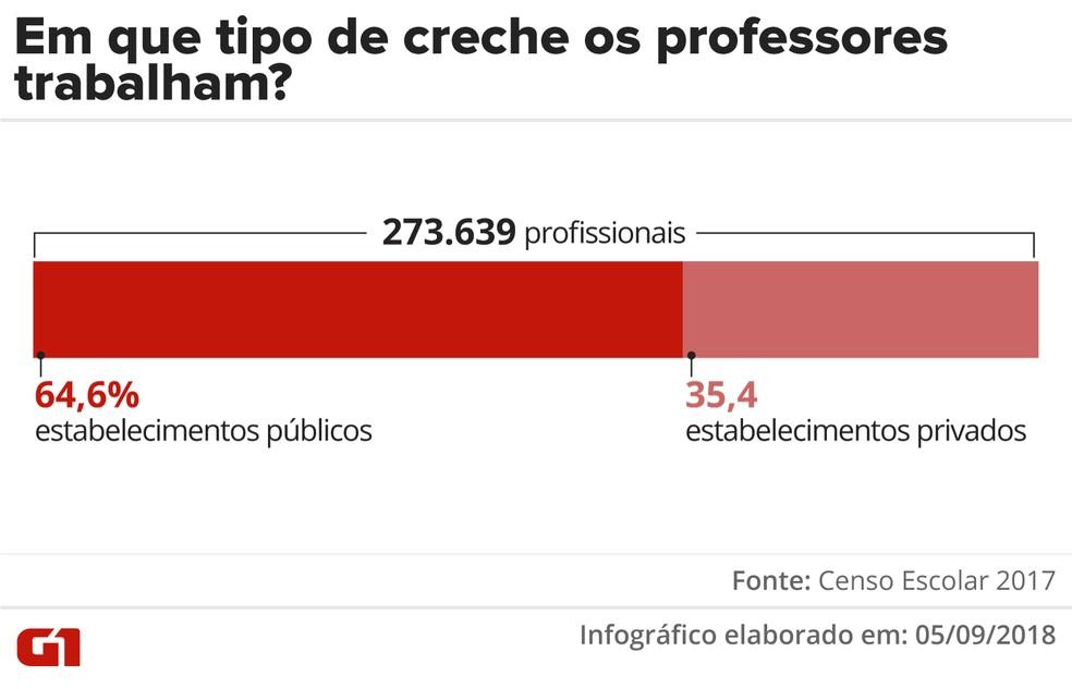 Professores trabalharam, na maioria dos casos, em estabelecimentos públicos. — Foto: Infográfico: Juliane Monteiro/G1