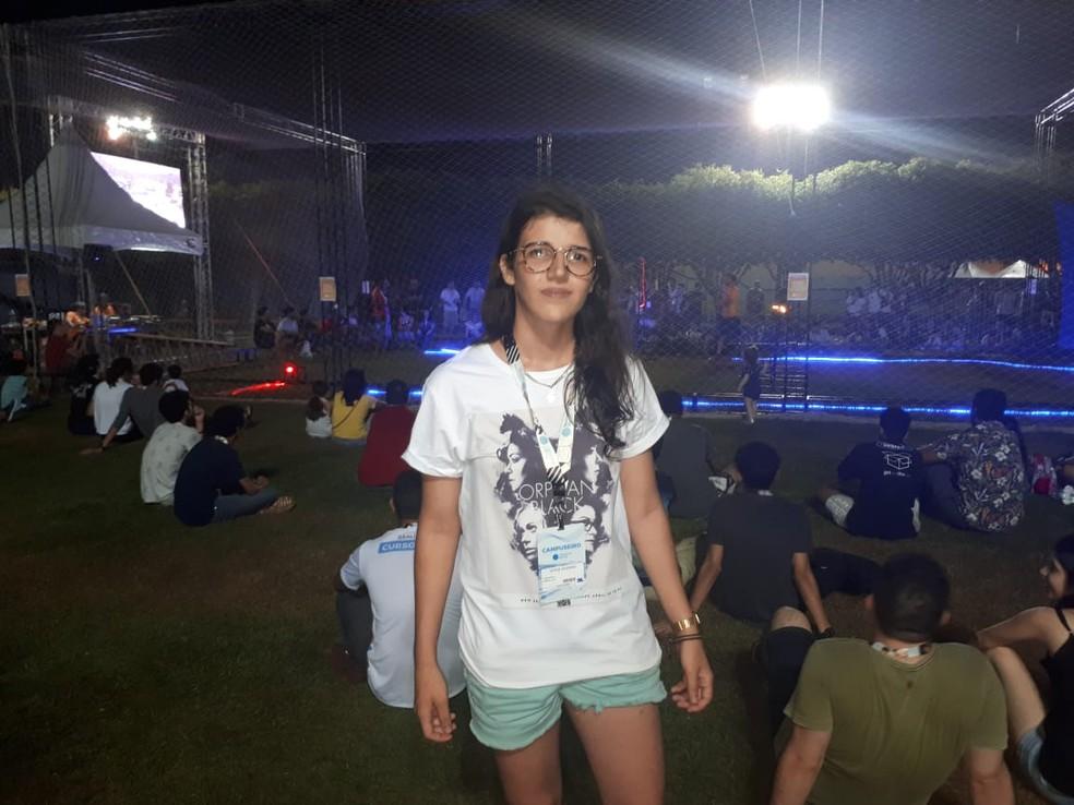 Joyce foi uma das competidoras da batalha de drones (Foto: Ana Kézia Gomes/ G1)