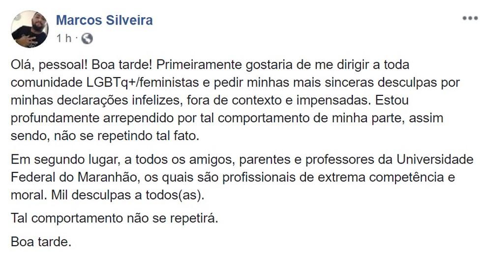 Marcos Silveira pediu desculpas pelas declarações após a repercussão nas redes sociais — Foto: Reprodução/Redes Sociais