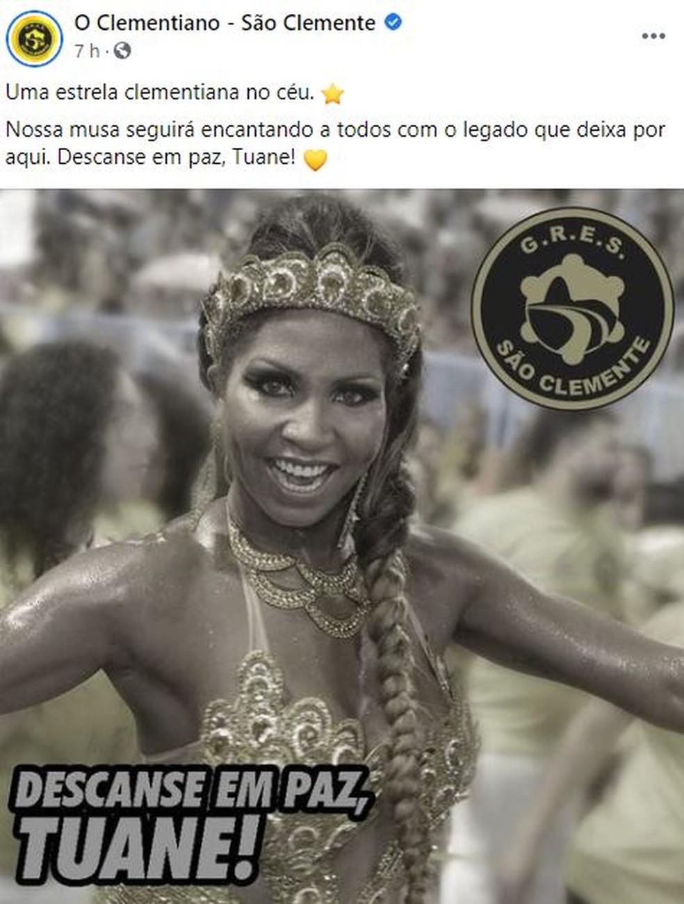 São Clemente homenageia Tuane Rocha — Foto: São Clemente / Facebook / Reprodução