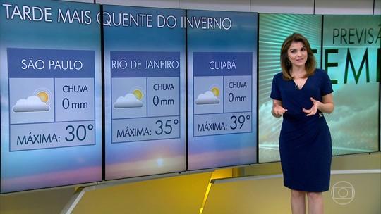 Agosto pode terminar com tarde sendo a mais quente do inverno em SP, no Rio e em Cuiabá