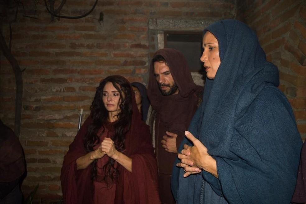 Atores gravaram filmes publicitários da Paixão em Nova Jerusalém (Foto: João Tavares e Alberes Junior/Divulgação)