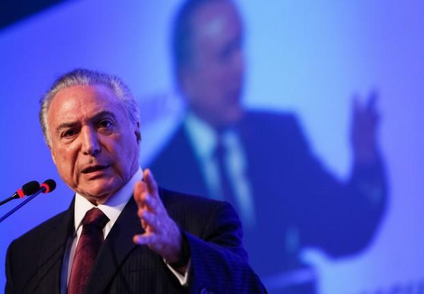 O presidente Michel Temer discursou na cerimônia de posse do conselho da Câmara Americana (Amcham) (Foto: Beto Barata/PR)