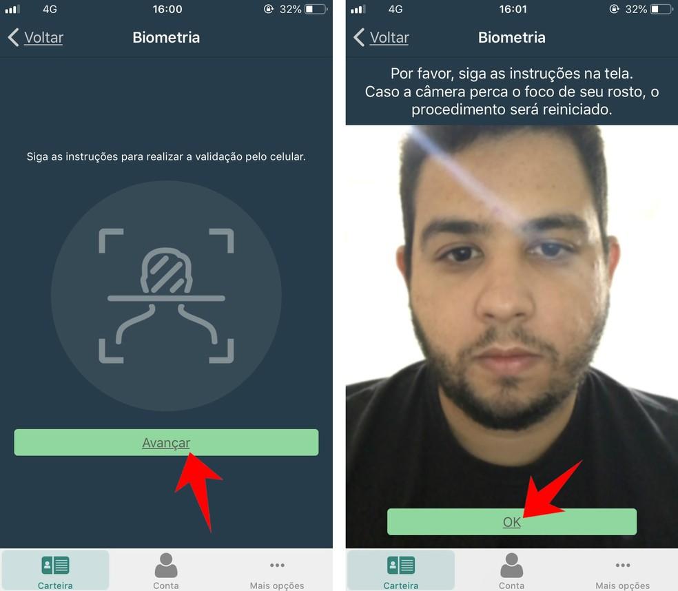 App CNH Digital faz biometria facial para confirmar autenticidade do documento — Foto: Reprodução/Rodrigo Fernandes