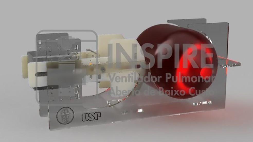 Engenheiros da USP desenvolveram o 'Inspire', ventilador pulmonar para uso em emergências, que pode ser produzido em até duas horas e 15 vezes mais barato  — Foto: Divulgação/Poli-USP