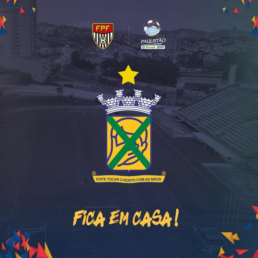 Santo André adapta escudo em campanha contra o novo coronavírus — Foto: Reprodução Twitter