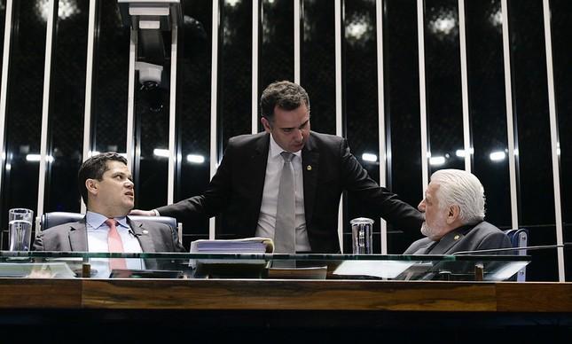 Davi Alcolumbre, Rodrigo Pacheco e Jaques Wagner