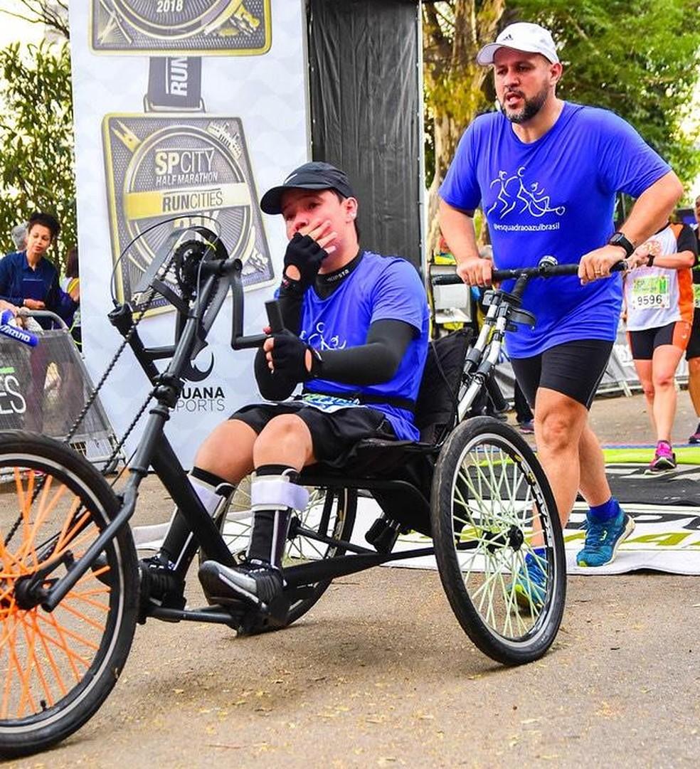 Corrida que inclui pessoas com deficiência em triciclos será realizada em Sorocaba neste domingo (14) — Foto: Divulgação/Projeto 'Empresto Minhas Pernas'