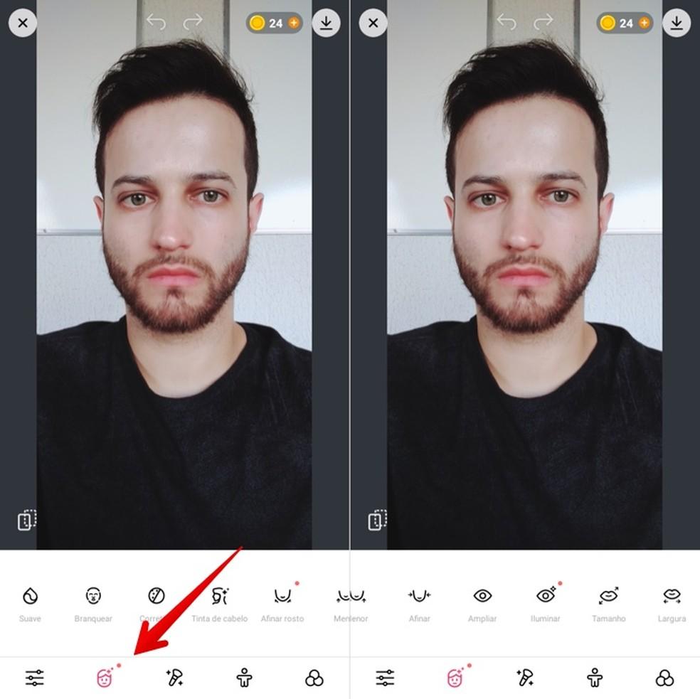 Realizando ajustes em selfies — Foto: Reprodução/Helito Beggiora