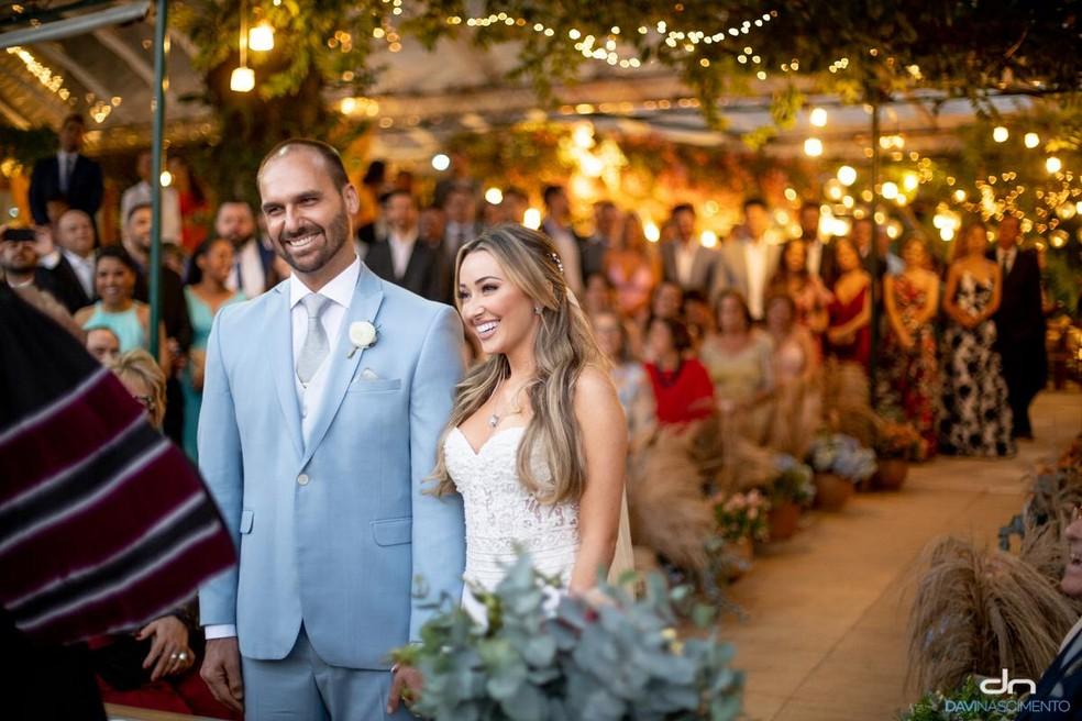 Eduardo Bolsonaro e Heloísa Wolf se casam em casa de festas em Santa Teresa, no Rio — Foto: Divulgação/Davi Nascimento