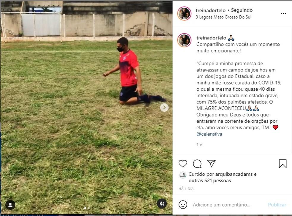 Publicação do treinador de goleiros em redes sociais viralizou em Mato Grosso do Sul — Foto: Arquivo Pessoal