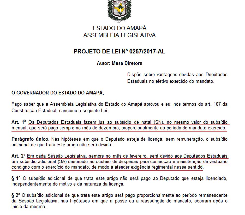 Projeto de lei da Assembleia Legislativa do Amapá, criação de subsídio de Natal (Foto: Reprodução)