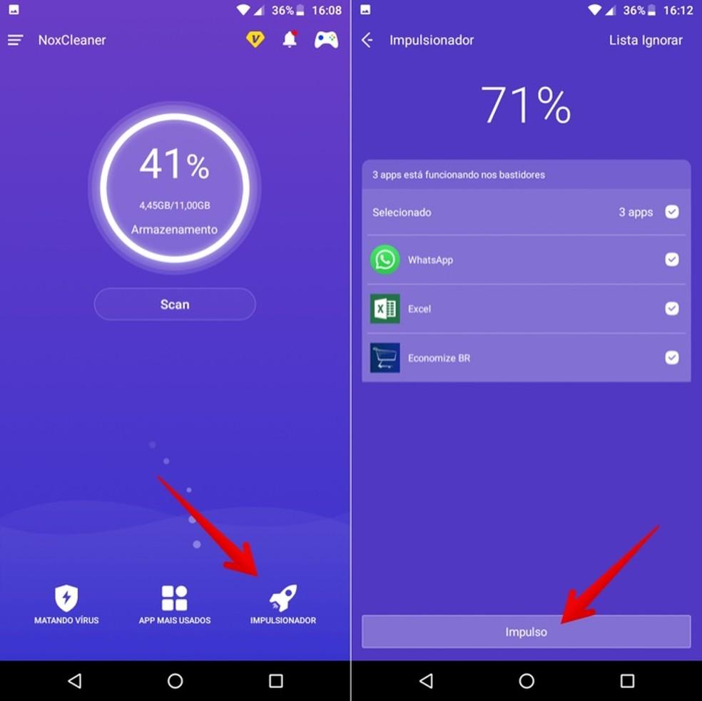 Finalize apps em execução no segundo plano pelo app Nox Cleaner — Foto: Reprodução/Helito Beggiora