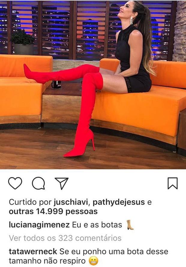Comentário de Tatá Werneck na foto de Luciana Gimenez (Foto: Reprodução / Instagram)