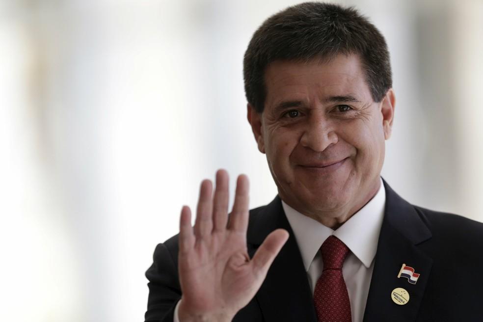 Arquivo: Horacio Cartes na cúpula do Mercosul — Foto: Ueslei Marcelino/Reuters