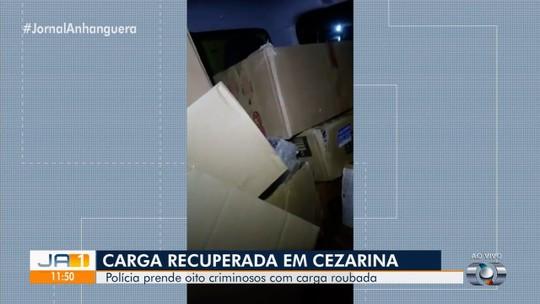 Polícia prende oito pessoas por roubo e receptação de cargas avaliadas em R$ 400 mil, em Goiás