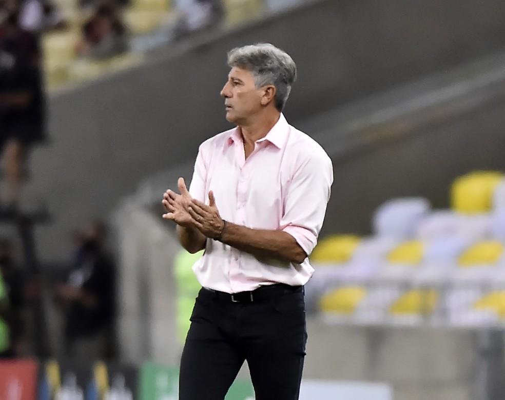 Renato Gaúcho na vitória do Flamengo sobre o Grêmio, pela Copa do Brasil, no Maracanã — Foto: André Durão