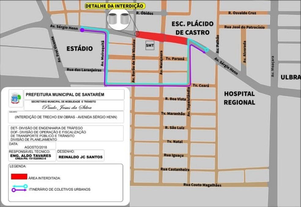 -  Mapa mostra trecho interditado e opções de desvio para garantir fluidez do trânsito  Foto: Agência Santarém/Divulgação
