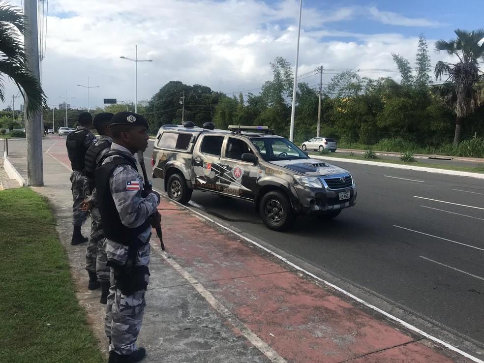 Ação da PM em Salvador  — Foto: Divulgação/SSP