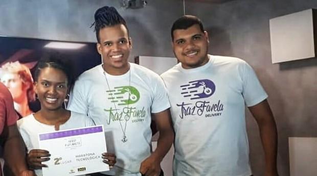 Naomy, Iago e Lucas: sócios do TrazFavela (Foto: Reprodução)