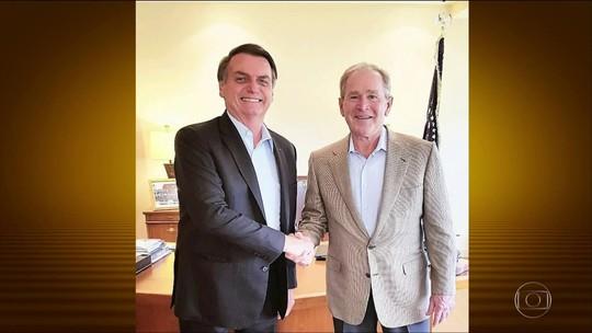 Bolsonaro se encontra com George W. Bush nos EUA