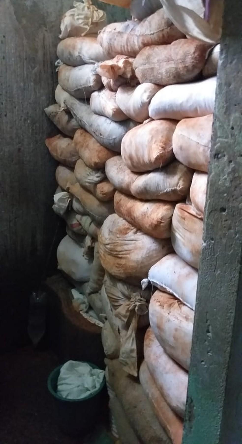 Terra da escavação foi estocada em sacos dentro da cela — Foto: Divulgação