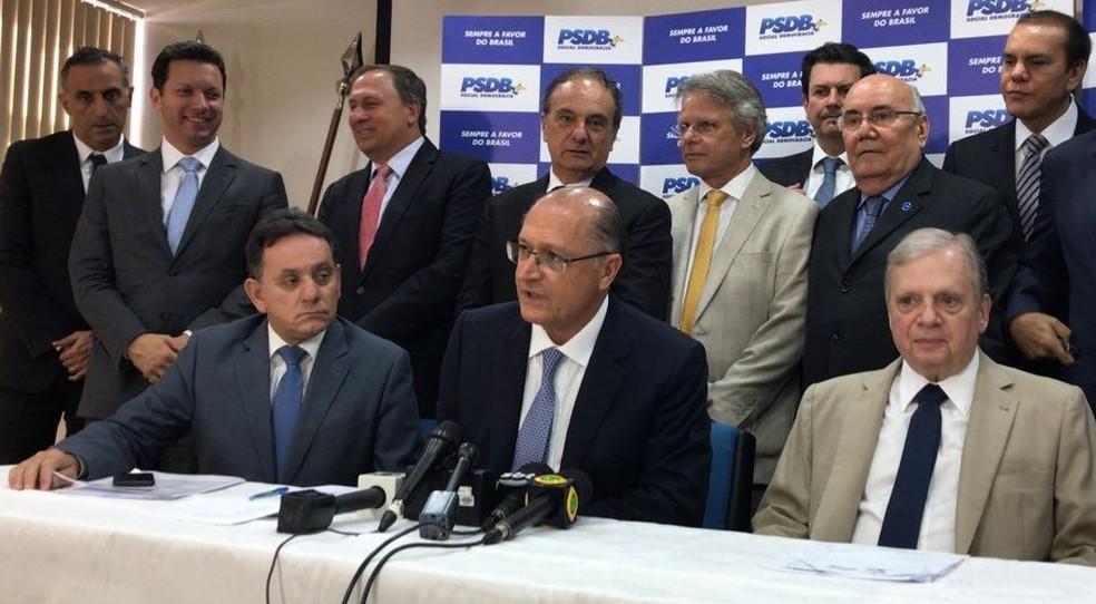 O governador de São Paulo, Geraldo Alckmin (PSDB), durante pré-candidatura à Presidência da República (Foto: Fernanda Calgaro/ G1)