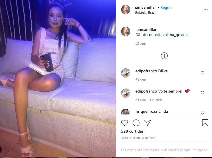 Camilla Landim em show de Gusttavo Lima (Foto: Reprodução/Instagram)