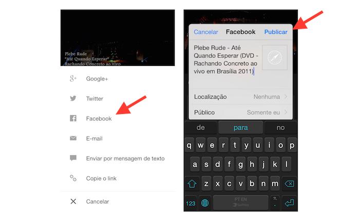 Publicando uma YouTube Mix no Facebook através de um dispositivo iOS (Foto: Reprodução/Marvin Costa)
