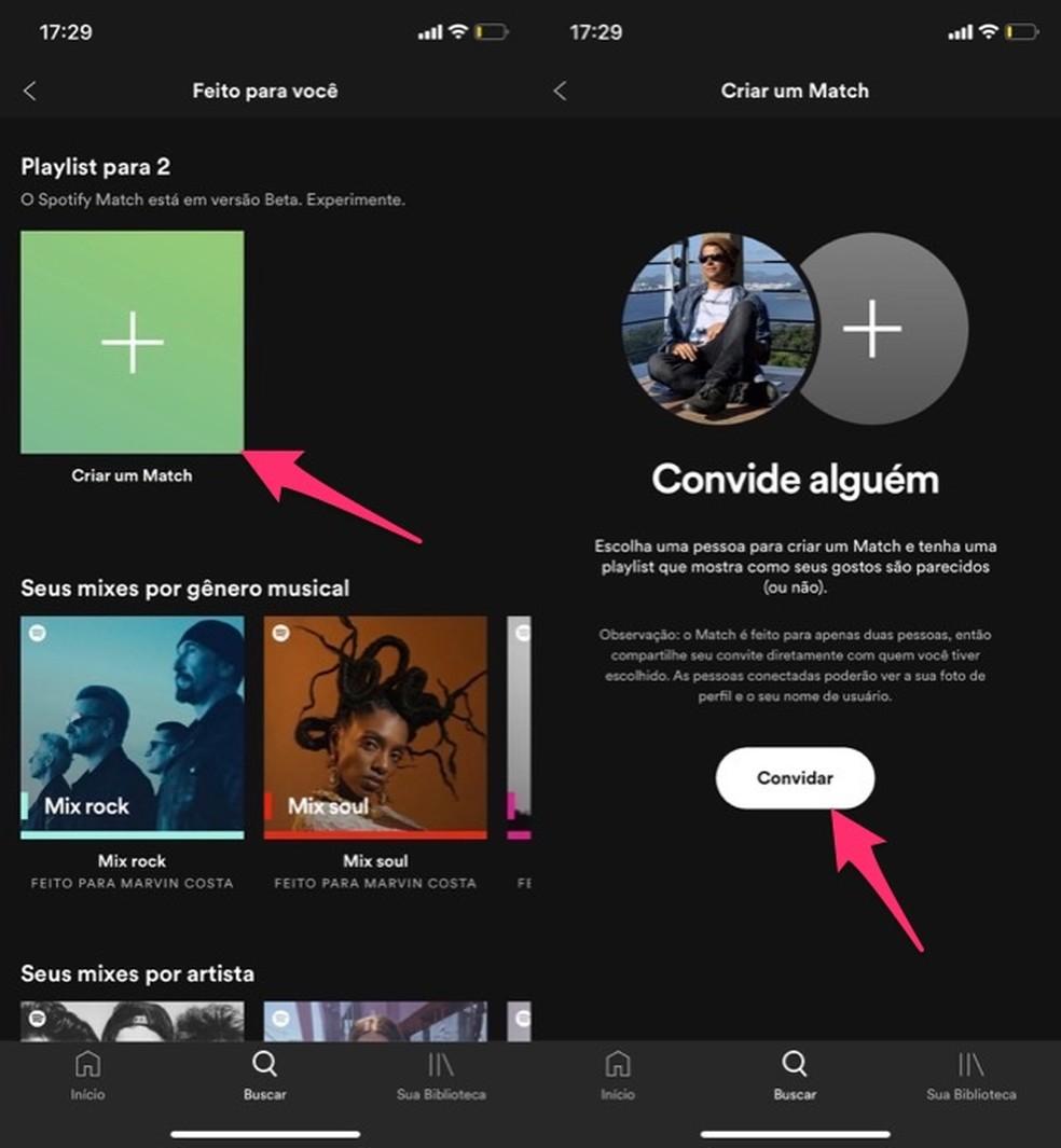 Ação para inicar a criação de uma playlist Match no Spotify — Foto: Reprodução/Marvin Costa