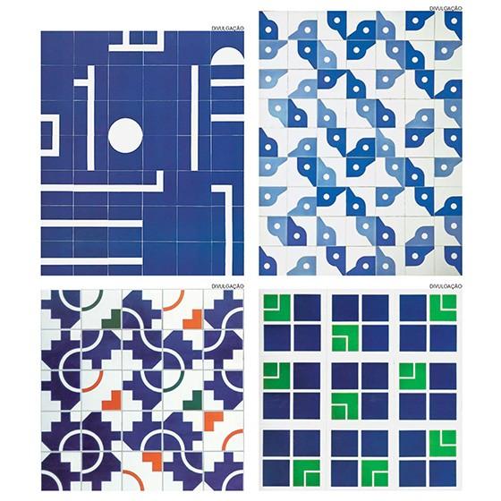 Reproduções de padrões de azulejos criados por Athos Bulcão (Foto: DIVULGAÇÃO)