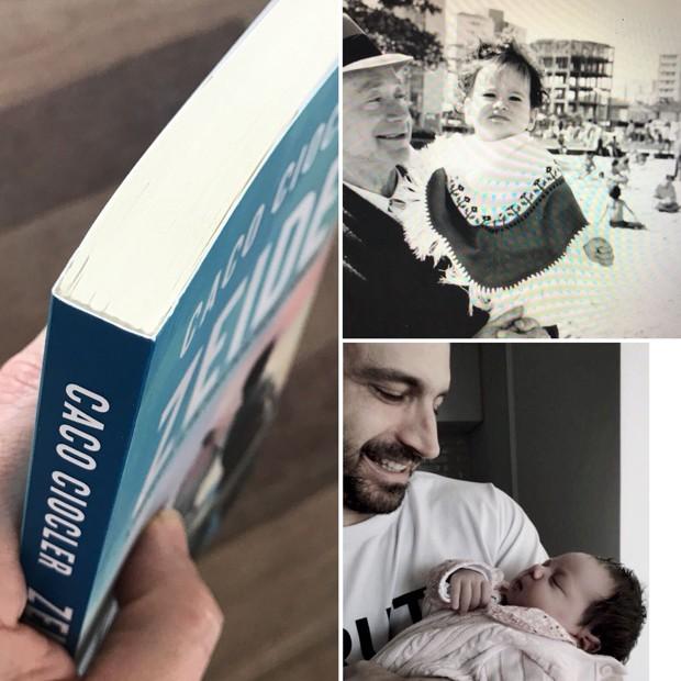 Caco no colo do avô (em cima à direita), com a neta, Elis (embaixo), e seu livro, 'Zeide',  inspirado nas histórias de sua família (Foto: arquivo pessoal)