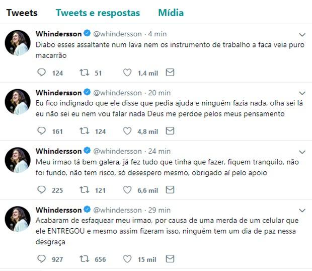 Whindersson Nunes diz na web que irmão sofre assalto e é esfaqueado (Foto: Reprodução/Twitter)