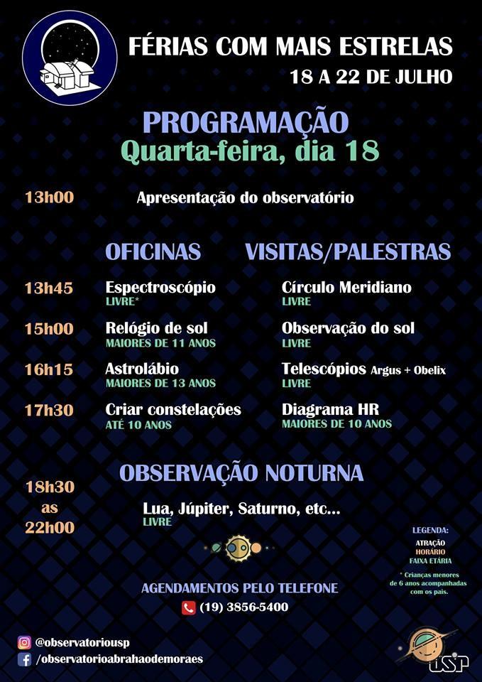 """Programação do dia 18 de julho do evento """"Ferias com Mais Estrelas"""" (Foto: OAM)"""