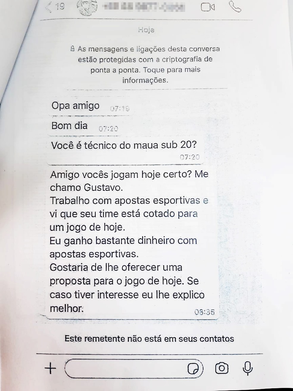 Abordagem por mensagem ao técnico do Sub-20 do Mauá FC — Foto: Reprodução