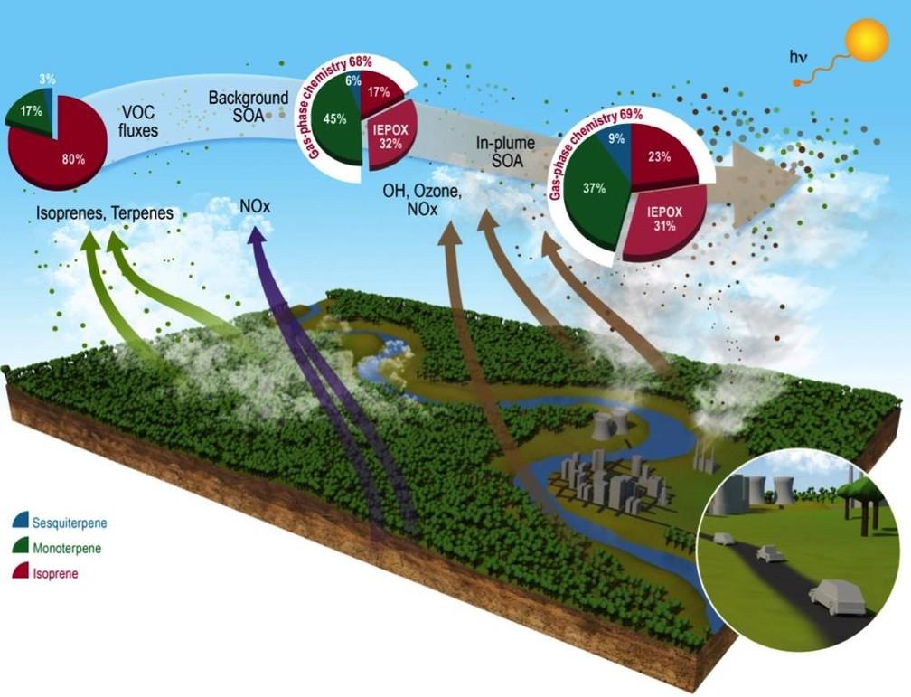 Infografia publicada na revista Nature Communications mostra os impactos das emissões em Manaus na atmosfera amazônica — Foto: Semcom