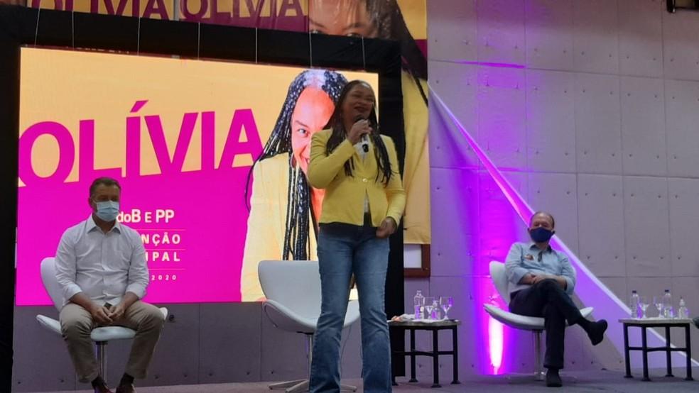 PC do B oficializa candidatura de Olívia Santana à Prefeitura de Salvador — Foto: Georgina Maynart/TV Bahia
