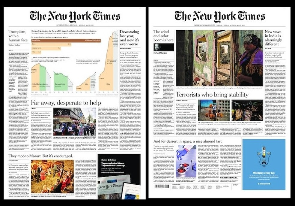 Não há menção aos atos no periódico americano no domingo e nesta segunda. Além disso, as capas das versões internacionais do jornal nos dias 2 e 3 desmentem o print que circula nas redes.  — Foto: Reprodução