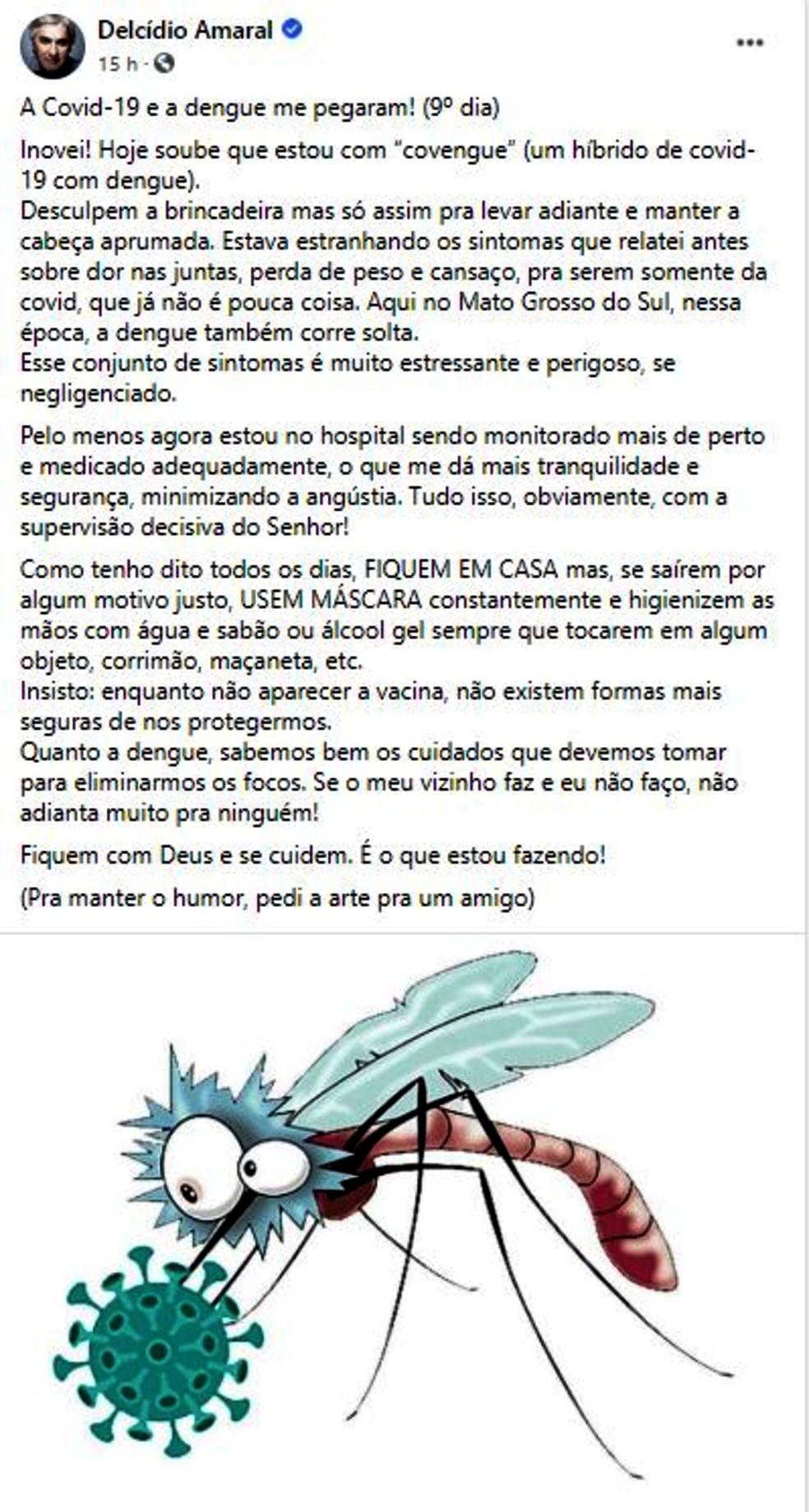 Post do ex-senador Delcídio do Amaral em rede social em que ele revela que além de covid-19 está com dengue também — Foto: Reprodução/G1MS