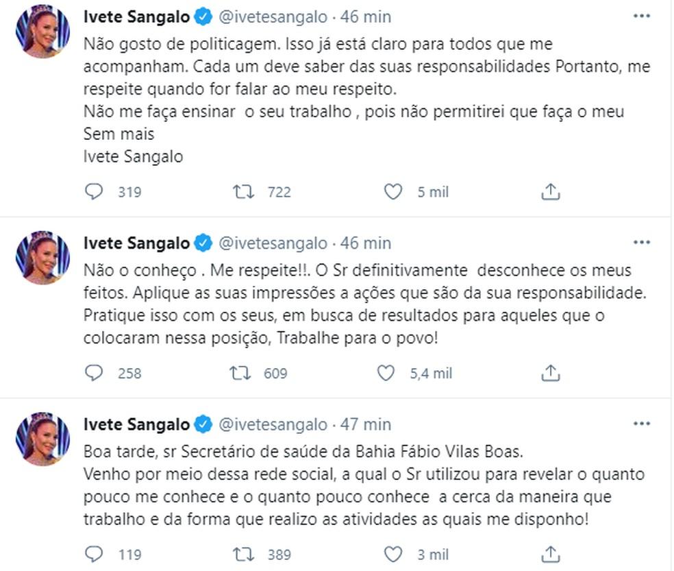 Ivete Sangalo rebateu críticas do secretário de Saúde — Foto: Reprodução / Redes Sociais