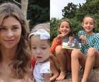 Cena de 'Flor do Caribe' e as gêmeas Vitória (de laranja) e Serena atualmente | TV Globo - Arquivo pessoal