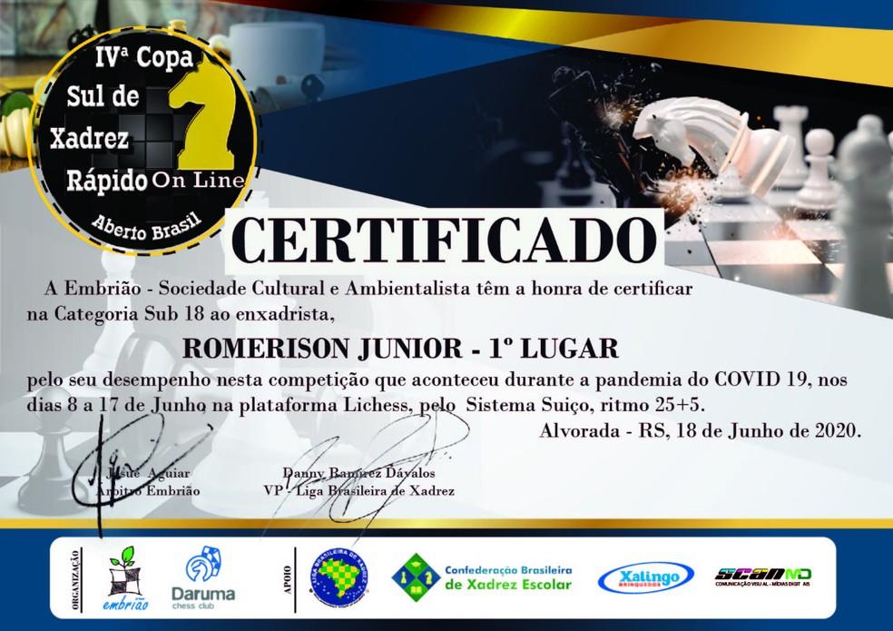 Copa Sul Xadrez — Foto: Romerison Júnior/Arquivo Pessoal