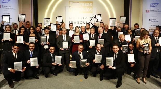 Os vencedores do prêmio Melhores Franquias (Foto: Ricardo Cardoso)