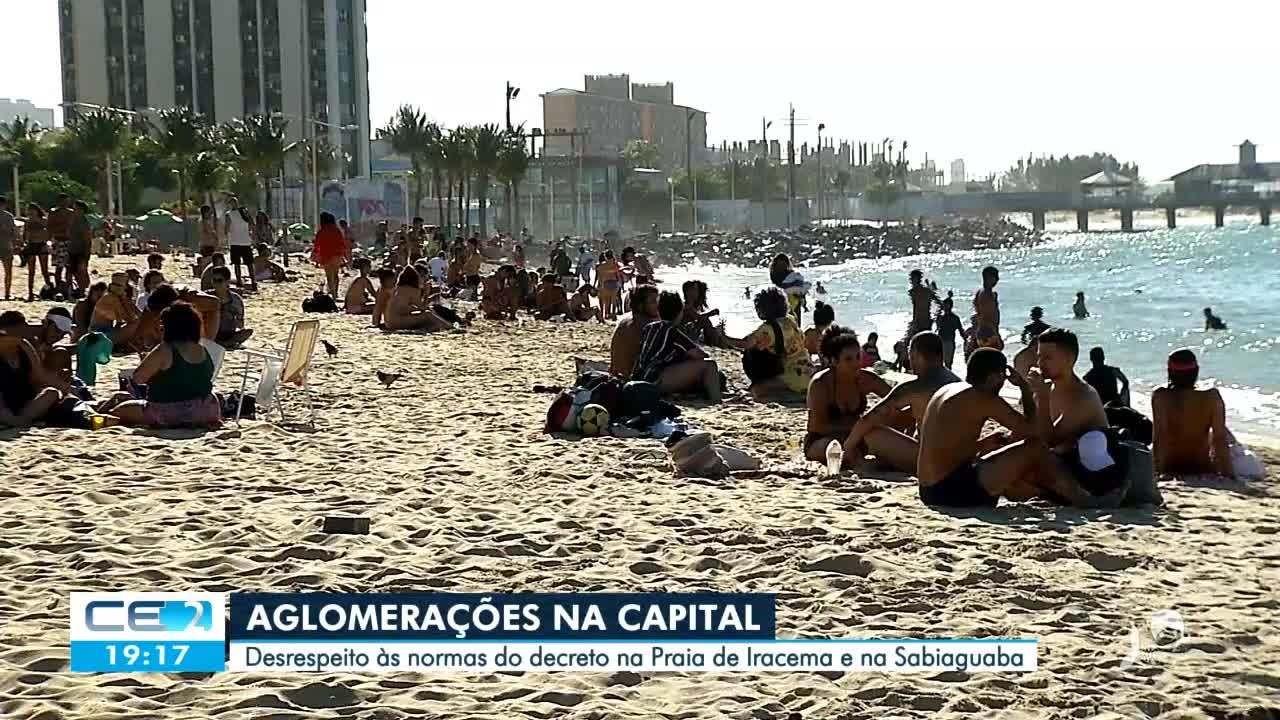 Aglomeração e desrespeito às normas sanitárias na Praia de Iracema e na Sabiaguaba