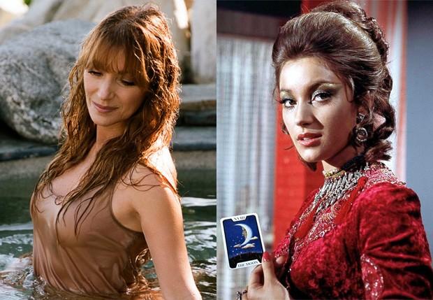 Jane Seymour em em 2017 e em 1973 em Com 007 Viva e Deixe Morrer (Foto: Reprodução)