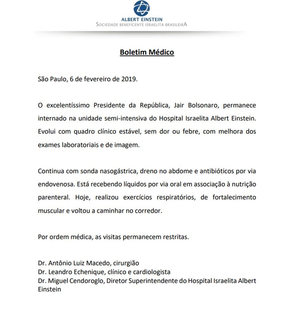 Boletim médico de Jair Bolsonaro de 6 de fevereiro — Foto: Divulgação/Hospital Albert Einstein