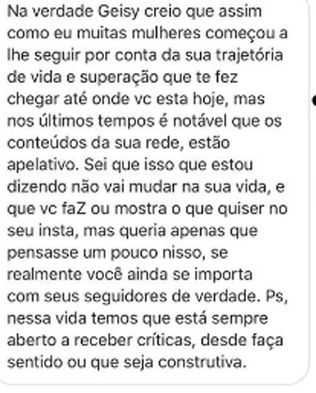 Internauta critica Geisy Arruda (Foto: Reprodução Instagram)