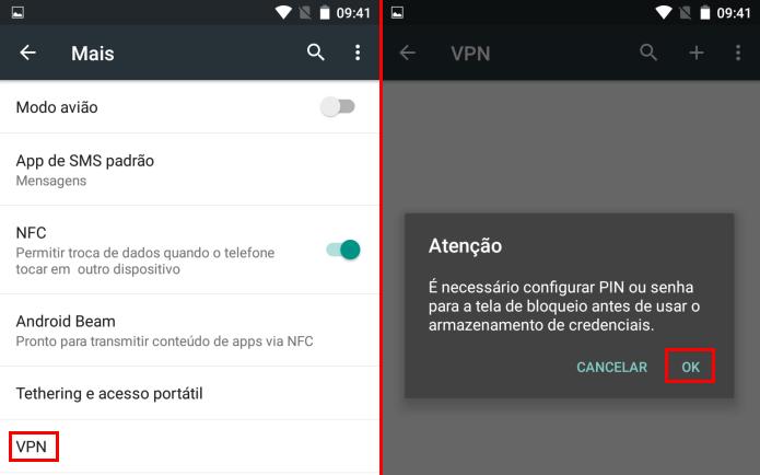 Acessando a opção VPN nas configurações do Android (Foto: Reprodução/Edivaldo Brito)